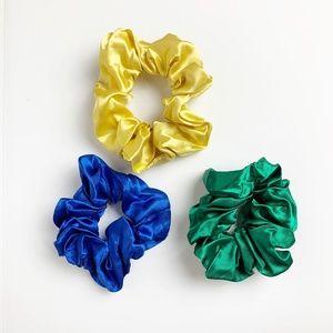 Satin Scrunchies 3-pack; yellow, blue, & green